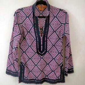 Tory Burch Pink Geometric Long Sleeve Tunic Shirt